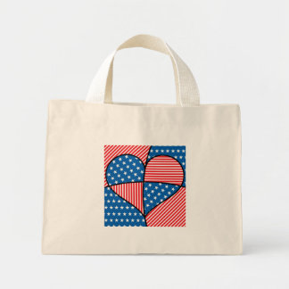 Patriotic American hearts Mini Tote Bag