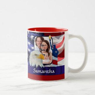 Patriotic American photo template Two-Tone Mug