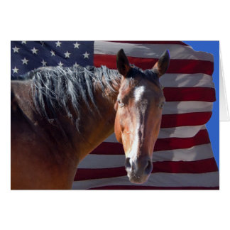 Patriotic American Quarter Horse & USA Flag  Blank Card