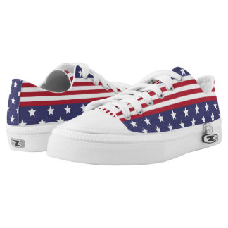 Patriotic American Stars and Stripes USA Flag Low Tops