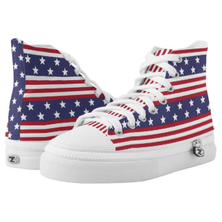 Patriotic American Stars and Stripes USA Flag Printed Shoes