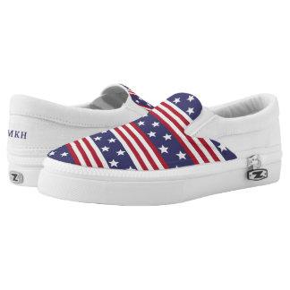 Patriotic American Stars Stripes USA Flag Monogram Printed Shoes