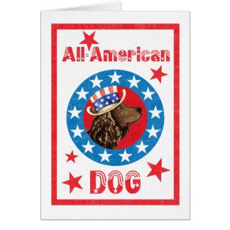 Patriotic American Water Spaniel Card