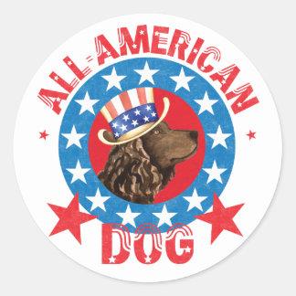 Patriotic American Water Spaniel Classic Round Sticker