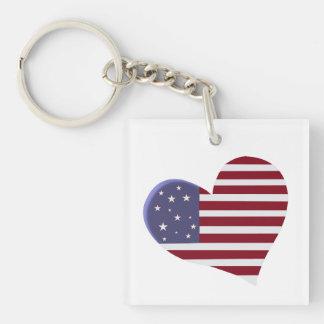 Patriotic Americana Double-Sided Square Acrylic Key Ring