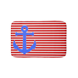 Patriotic Anchor and Stripes Bath Mat Bath Mats