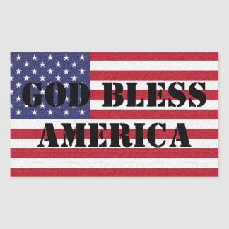 Patriotic and powerful God Bless America Rectangular Sticker
