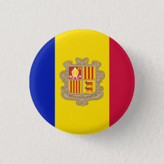 Patriotic Andorra Flag 3 Cm Round Badge