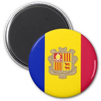 Patriotic Andorra Flag 6 Cm Round Magnet
