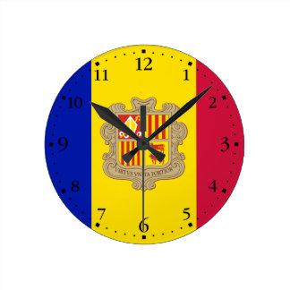 Patriotic Andorra Flag Round Clock