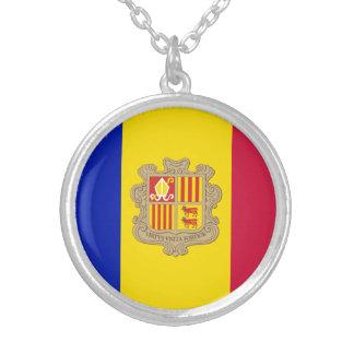 Patriotic Andorra Flag Silver Plated Necklace