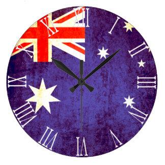 Patriotic Australian flag roman numeral wall clock