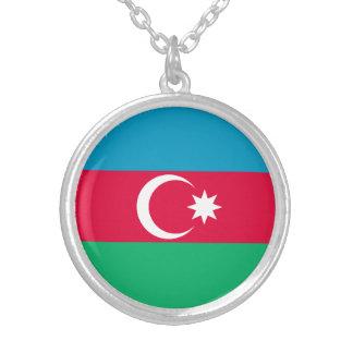 Patriotic Azerbaijan Flag Silver Plated Necklace