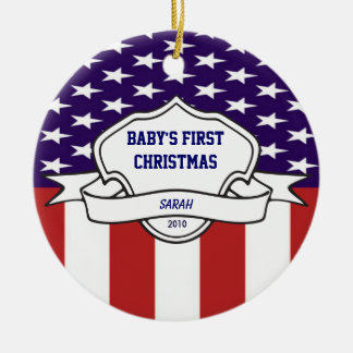 Patriotic Babys First Christmas Custom Photo Ceramic Ornament