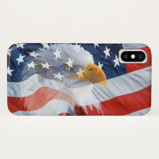 Patriotic Bald Eagle American Flag iPhone X Case