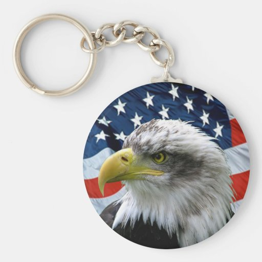 Patriotic Bald Eagle American Flag Keychain