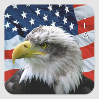 Patriotic Bald Eagle American Flag Monogrammed Square Sticker
