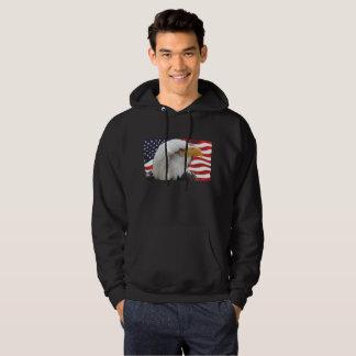 Patriotic Bald Eagle and American Flag Hoodie