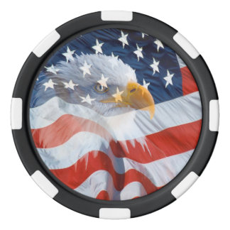 Patriotic Bald Eagle Over The American Flag Poker Chips