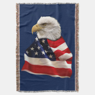 Patriotic Bald Eagle Wrapped in US Flag Throw Blanket