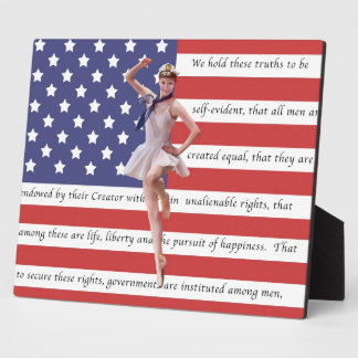 Patriotic Ballerina and USA Flag Plaque