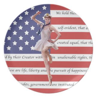 Patriotic Ballerina and USA Flag Plate