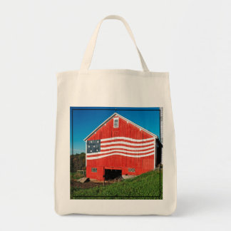 Patriotic Barn Grocery Tote Bag