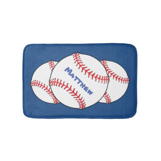 Patriotic Baseball Bath Mats