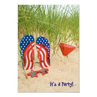 Patriotic Beach Party 9 Cm X 13 Cm Invitation Card