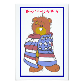 "Patriotic Bear 4th of July Invitation 3.5"" X 5"" Invitation Card"