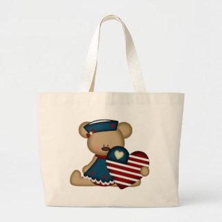 Patriotic Bear blue Canvas Bag