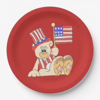 Patriotic Bear With Flag Paper Plate