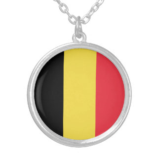 Patriotic Belgian Flag Silver Plated Necklace