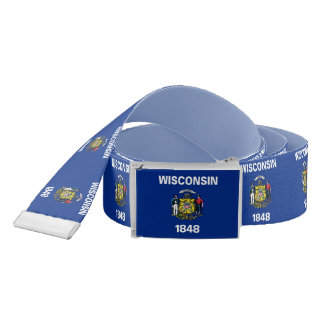 Patriotic Belt with flag of Wisconsin, USA