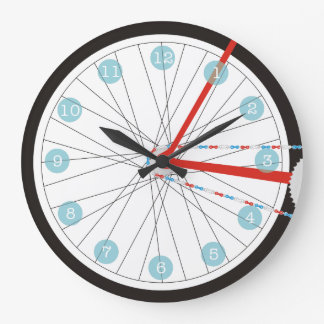 Patriotic Bike Wheel Clock In Red, White And Blue