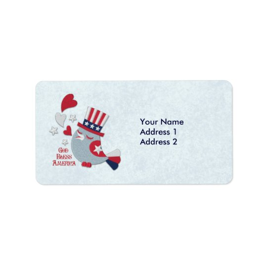 Patriotic Bird Tweets God Bless America Address Label