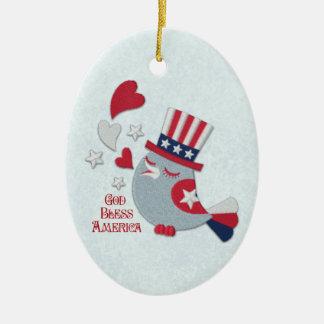 Patriotic Bird Tweets God Bless America Ornament