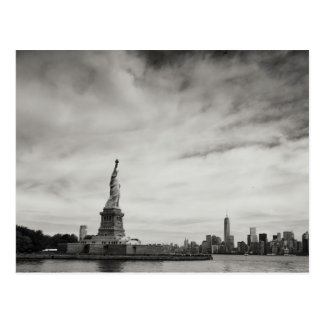 Patriotic Black and White Statue of Liberty Postcard