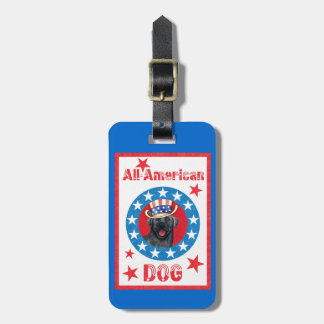 Patriotic Black Lab Luggage Tag