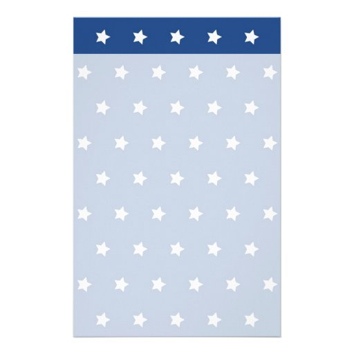 Patriotic Blue and White Stars Freedom Customized Stationery