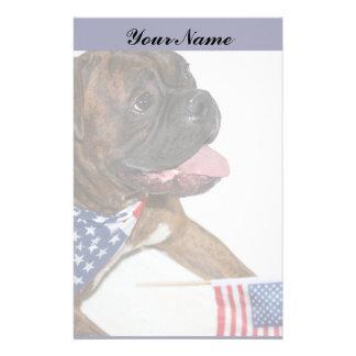 Patriotic Boxer Dog Stationary Custom Stationery