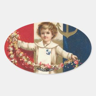 Patriotic Boy Oval Sticker