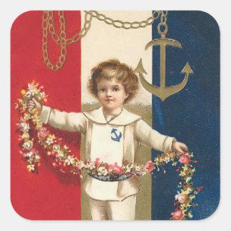 Patriotic Boy Square Sticker