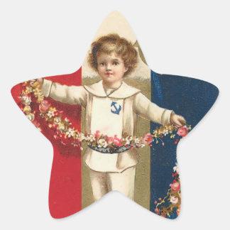 Patriotic Boy Star Sticker