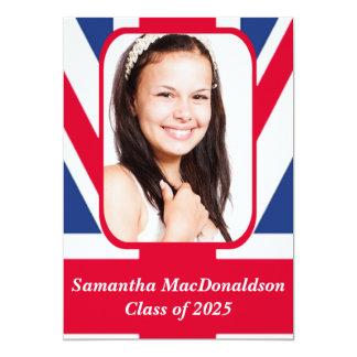 Patriotic British flag photo graduation Card
