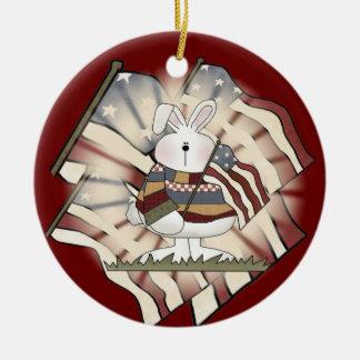 Patriotic Bunny Rabbit Double-Sided Ceramic Round Christmas Ornament