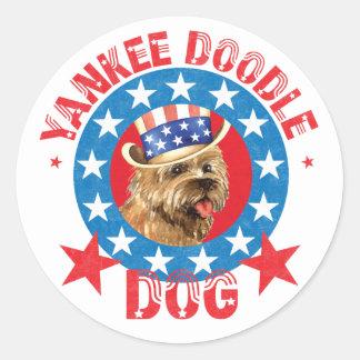 Patriotic Cairn Terrier Classic Round Sticker