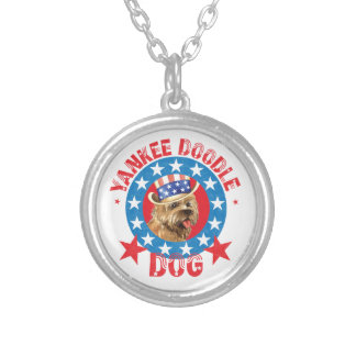 Patriotic Cairn Terrier Silver Plated Necklace