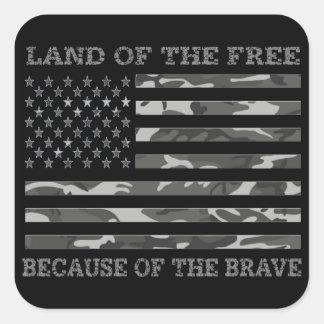 Patriotic Camo American Flag Land Of The Free Square Sticker