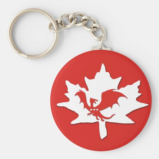 Patriotic Canadian Dragon Red Key Chains